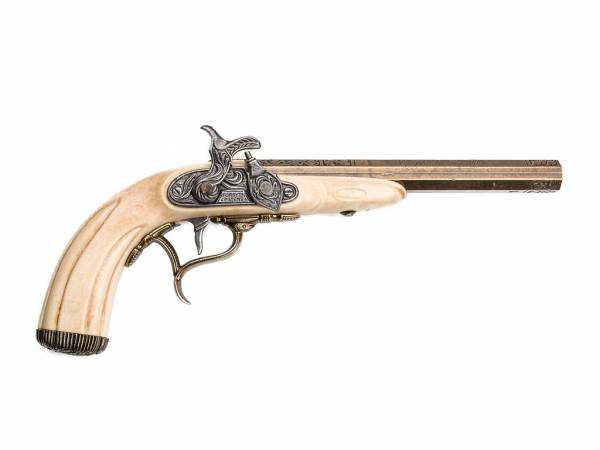 Joseph Kirner 1807 Perkussionspistole - Deko Pistole - elfenbein-messingfarben