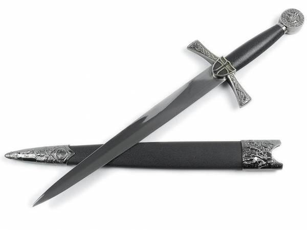 Templer Doch mit Edelstahl-Klinge und Scheibenknauf mit Rittermotiv schwarz-silberfarben