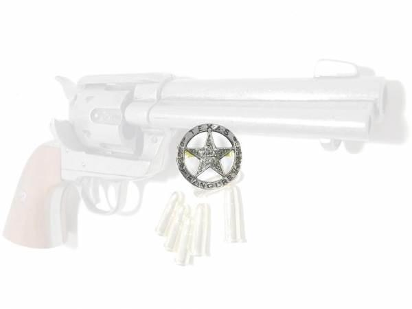 Texas Rangers Abzeichen - silberfarben mit Sicherheitsverschluss