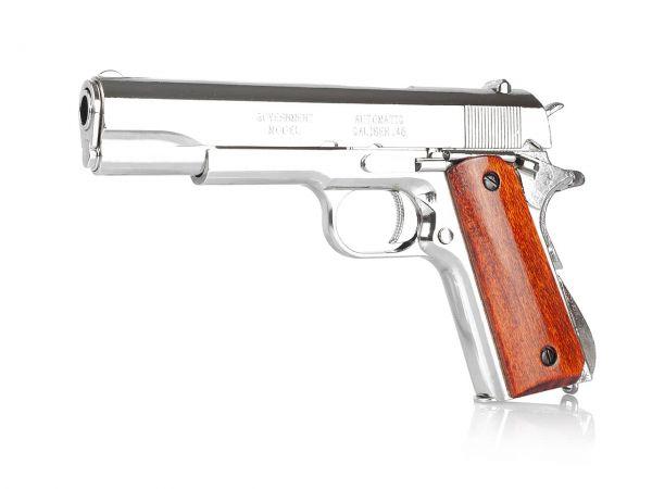 Colt 1911 Deko Pistole M1911A1 .45 vernickelt mit lackierten Holzgriffschalen