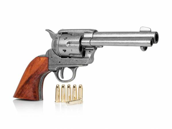 45 Colt Peacemaker Gunfighter mit Munition als Deko Revolver im used Look