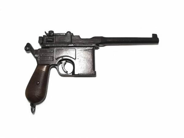 Mauser C96 Deko Pistole - Holzgriff gealtert