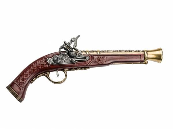 Hadley 1780 Tromblon-Pistole Deko Espingole - silber/messingfarben mit Kirschholz-Imitat