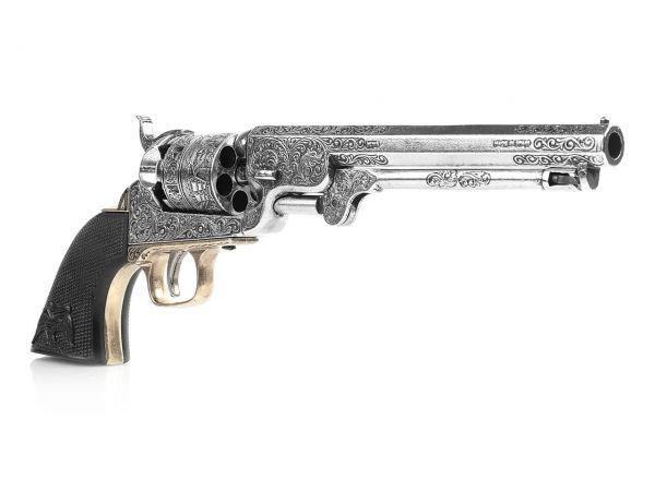 Colt Navy 1851 Deko Revolver silber- / messingfarben mit Eagle Grip aus Büffelhornimitat