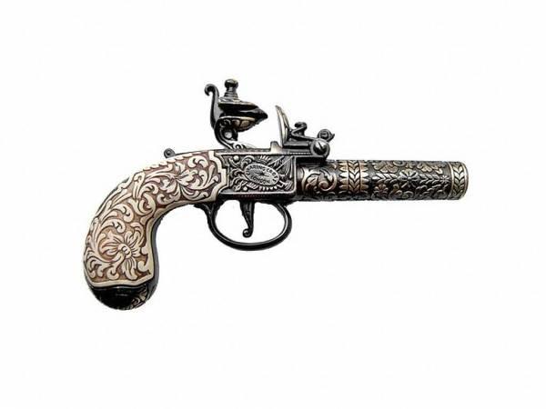 Kumbley & Brum Taschenpistole - Deko Pistole schwarz/messingfarben mit Elfenbein-Imitat