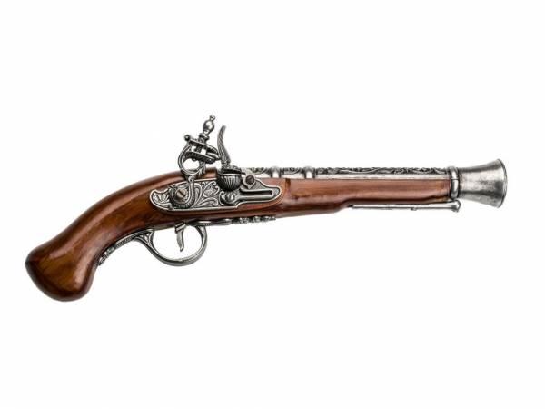 Hadley 1760 Tromblon-Pistole Deko Espingole - silberfarben mit Walnuss-Imitat