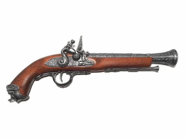 Englische Piratenpistole Deko - Karibik 1700 - silberfarben