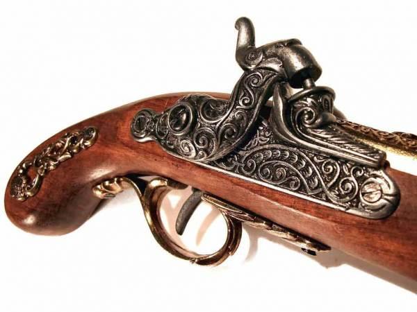 Französische Perkussionspistole Deko Pistole messingfarben - Detailansicht Schaft