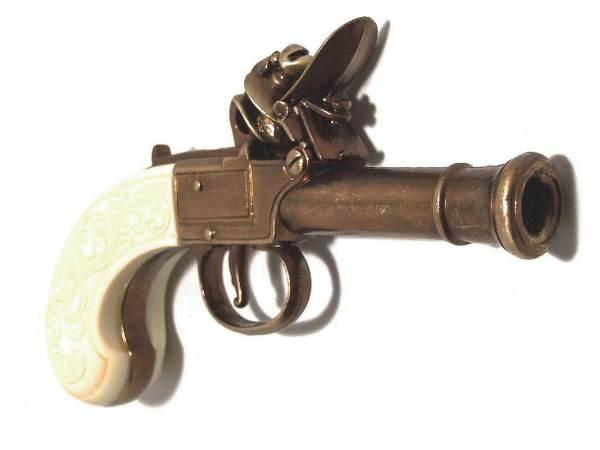Bunney Taschenpistole - Deko Pistole - London 1770 - messingfarben