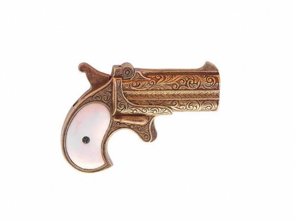 Remmington 95 Doppel Derringer - Deko Pistole - Taschenpistole - perlmutt-messingfarben
