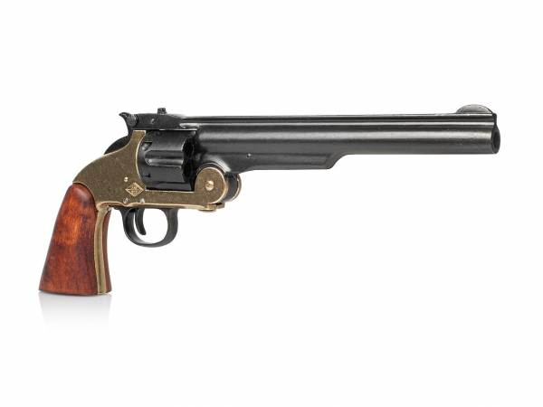 Smith & Wesson Shofield No 3 Deko Revolver schwarz-messing mit Holzgriff
