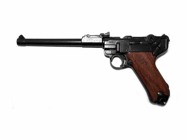 Luger P08 Artillerie Deko Pistole - Ari 08 mit Holzgriffschalen