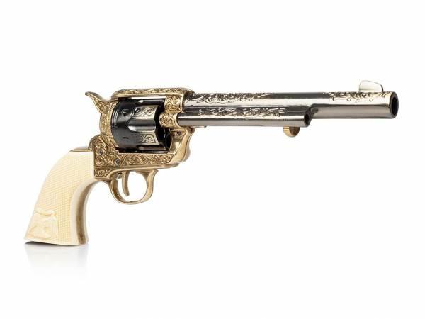 Deko Colt Peacemaker mit Cuno Helfricht Gravur in gunmetal-messing