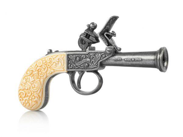 Griffin & Tow Taschenpistole Deko Pistole silberfarben