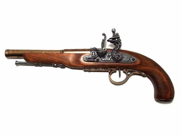 Steinschlosspistole - Deko Pistole für Linkshänder - messingfarben