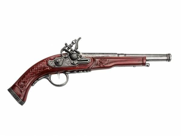 Hadley Steinschloss Pistole Deko - silberfarben mit Kirschholz-Imitat