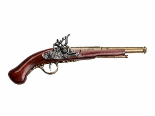 Hadley 1760 Steinschloss Pistole Deko - silber/messingfarben mit Kirschholz-Imitat