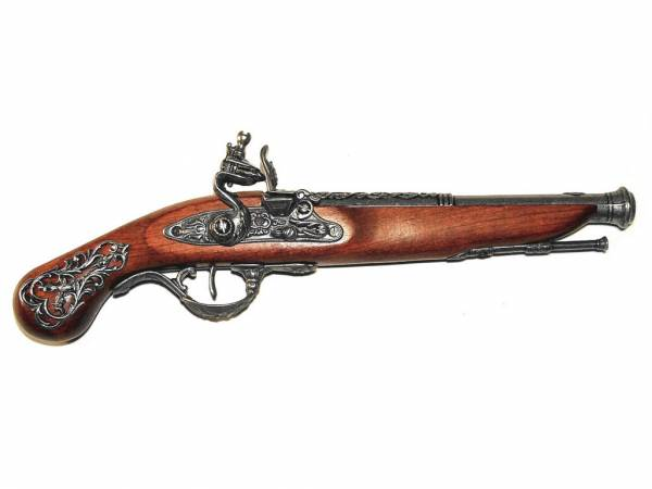 Englische Steinschlosspistole Deko Pistole - England 1800 - silberfarben