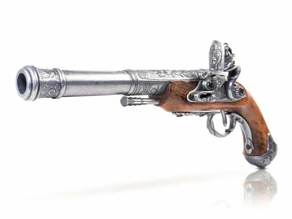 Queen Anne Pistole Deko - Linkshänder - silberfarben - Detailansicht Lauf
