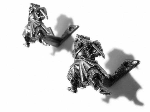 Samurai Wandhalterung für Schwerter - 2 Waffenhalter silberfarben