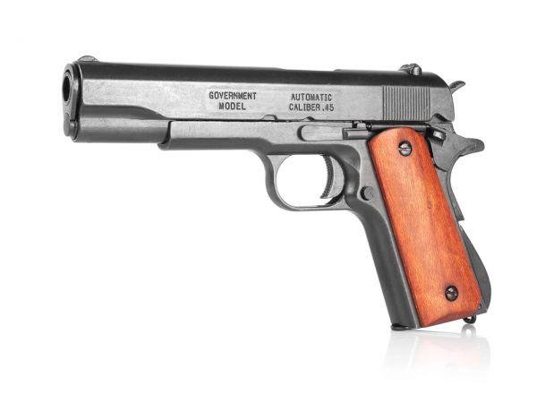 Colt 1911 Deko Pistole M1911A1 .45 in schwarz mit Holzgriffschalen