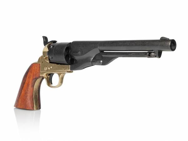 Colt Army 1860 Deko Revolver schwarz-messing mit Holzgriff
