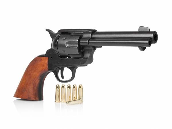 Schwarzer 45 Colt Peacemaker Gunfighter mit Munition als Deko Revolver
