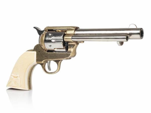 Deko Colt Peacemaker Artillery messingfarben mit Eagle Grip