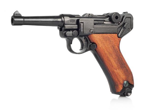 Luger P08 Deko Pistole Parabellum mit Holzgriffschalen