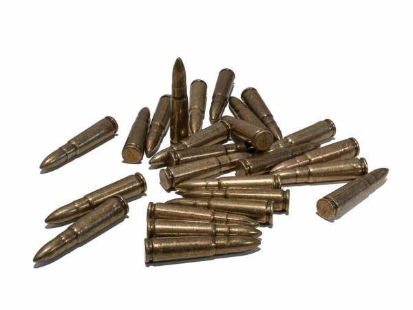 25 Dekopatronen im Kaliber 7,62 x 39 mm als Dekomunition für Kalaschnikow AK 47