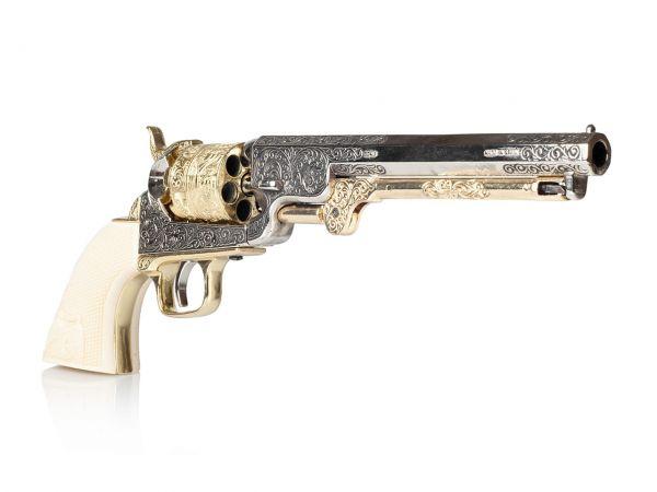 Colt Navy 1851 Deko Revolver in silber-messing mit Eagle Grip