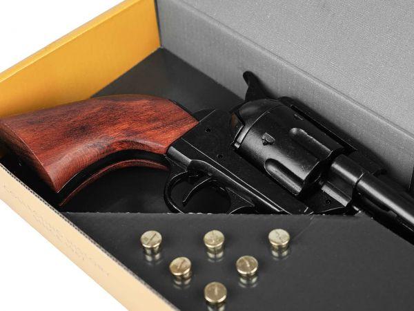 Schwarzer Western Colt mit Munition im Gunfighter Set