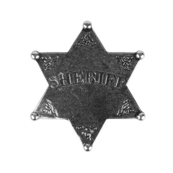 Sheriffstern aus Metall silberfarben mit Sicherheitsverschluss