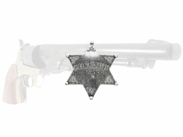 Sheriffstern - silberfarben mit Sicherheitsverschluss