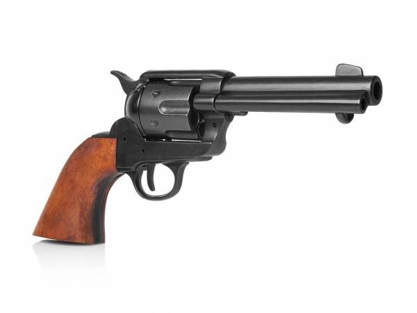 Colt SAA 1873 Gunfighter Deko Revolver in schwarz mit Holzgriff