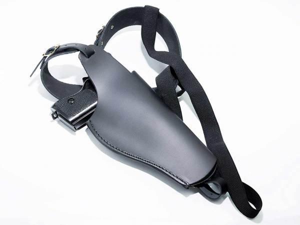 Pistolenholster - Schulterholster aus Leder mit geholsterter Pistole
