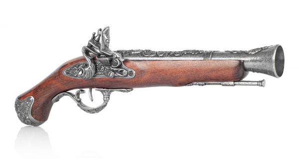 Englische Steinschloss Tromblon Pistole als Deko Waffe