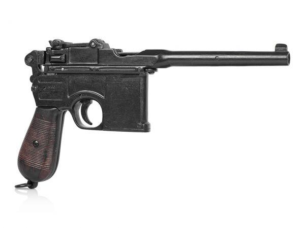 Mauser C96 Deko Pistole mit gealterten Holzgriffschalen