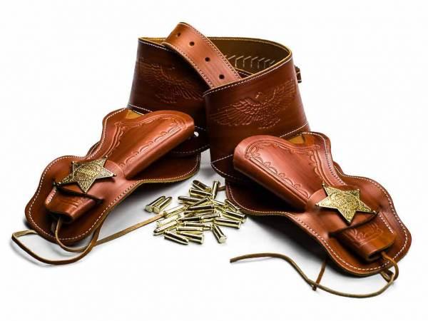 Sheriff Revolvergürtel - Doppel Westernholster