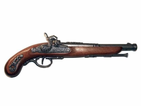 Französische Perkussionspistole Deko Pistole silberfarben