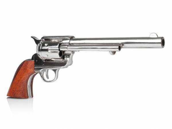 Colt SAA 1873 Cavalry Deko Revolver mit vernickeltem Finish