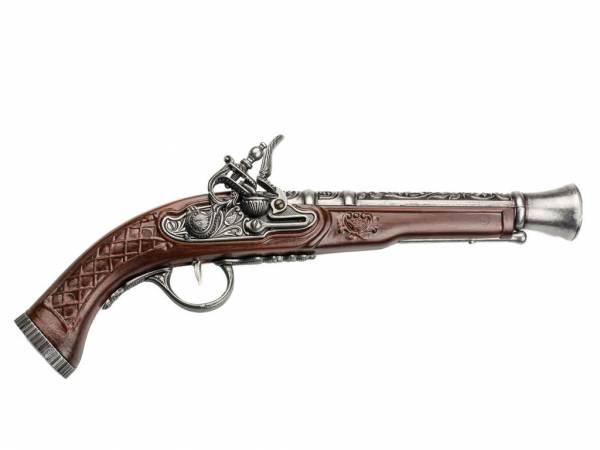 Hadley 1780 Tromblon-Pistole Deko Espingole - silberfarben mit Walnuss-Imitat