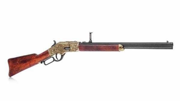 Winchester 73 Deko Gewehr Model 1873 graviert, messingfarben