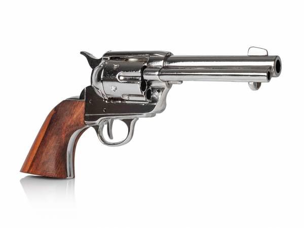Colt SAA 1873 Gunfighter Deko Revolver vernickelt mit Holzgriff