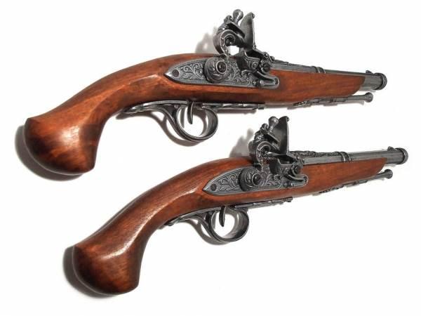 Duellpistolen Set Deko - Preussen 1800 - mit 2 Steinschlosspistolen - silberfarben