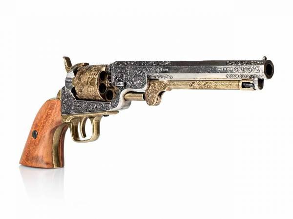 Colt Navy 1851 Deko Perkussionsrevolver silber-messing mit Holzgriff