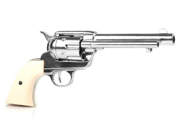 Deko Colt SAA 1873 Artillery Model mit Finger Groove Grips - vernickelt