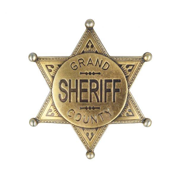 Sheriffstern Grand County messingfarben mit Sicherheitsverschluss