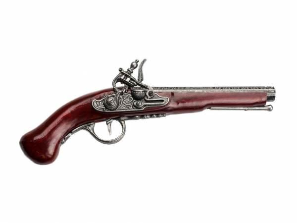 Hadley 1760 Achtkantlauf Steinschloss Pistole Deko - silberfarben mit Kirschholz-Imitat