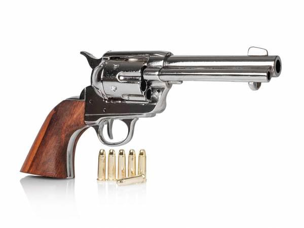 Vernickelter 45 Colt Peacemaker Gunfighter mit Munition als Deko Revolver